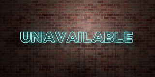 UNAVAILABLE - fluorescent Neon tube Sign on brickwork - Front view - 3D rendered royalty free stock picture Stock Image