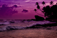 Unawatuna beach at sunset Royalty Free Stock Photos