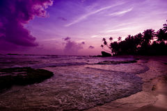 Unawatuna beach at sunset Royalty Free Stock Photo