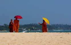 Unawatuna Monks and Mobile Phones Royalty Free Stock Image