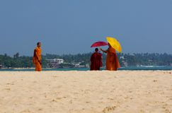 Unawatuna Monks and Mobile Phones Stock Photography