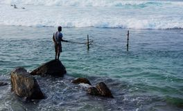 Unawatuna Rock Fisherman Royalty Free Stock Photos