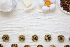 Unbaked μπισκότα με τους σπόρους, τις σταφίδες και τα καρύδια παπαρουνών στον άσπρο ξύλινο πίνακα Συστατικά για την κατασκευή των Στοκ φωτογραφίες με δικαίωμα ελεύθερης χρήσης