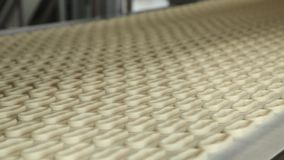 Unbaked bagels moving on oven conveyor. Detail view of unbaked bagels moving on production line in oven conveyor stock footage