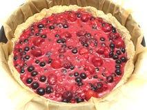 Unbaked berry cake Royalty Free Stock Image