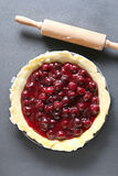 Unbaked cherry pie Royalty Free Stock Photo