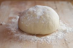 Unbaked Dough. A ball of unbaked dough lightly covered in flour Stock Images