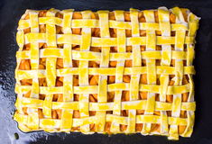 Unbaked homemade fruit sweet pie on a pan Royalty Free Stock Photos