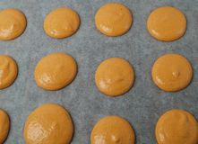Unbaked orange macaroons Royalty Free Stock Image