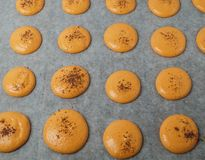 Unbaked orange macaroons Royalty Free Stock Photography