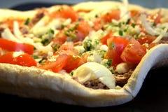 unbaked pizza Arkivbild