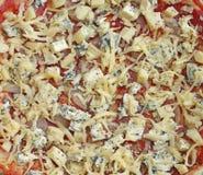 Unbaked pizza z serem Zdjęcia Royalty Free