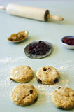 Unbaked scone and cranberries. Five unbaked scones with cranberries Stock Image