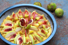 Unbaked Tart with figs and pears with cornmeal Stock Photography