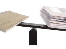 Unbalanced Checkbook and Bills. On Balance Beam Isolated on White Stock Photography