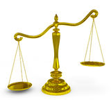 Unbalanced golden scales. Stock Photos