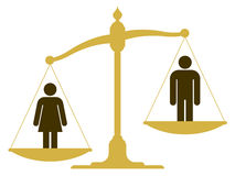 Unbalanced scale with a man and woman Stock Images