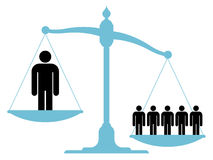 Unbalanced scale with a single man and a group Royalty Free Stock Photo