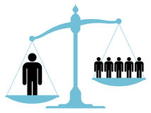 Unbalanced scale with a single man and a group. Illustration of an unbalanced vintage scale with a single man and a group of people on each of the pans showing Stock Photos