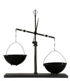 Unbalanced scales on the white background Royalty Free Stock Images