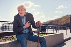 Elderly man win feeling sick because of chest pain. Unbearable angina. White-haired senior man sitting on a concrete edge of a flower bed, holding a cane and Royalty Free Stock Photo