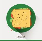 Unbedeutende Lebensmittelikone des Vektors Sandwich mit Lizenzfreies Stockfoto