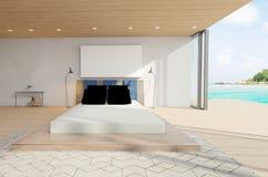 Unbedeutende und skandinavische Art mit gemütlichem Schlafzimmer Innenraum und 3d übertragen Stockbild