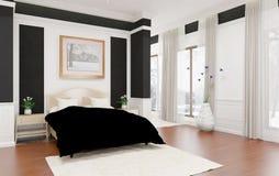 Unbedeutende und skandinavische Art mit gemütlichem Schlafzimmer Innenraum und 3d übertragen Stockbilder