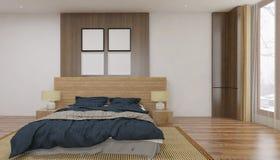 Unbedeutende und skandinavische Art mit gemütlichem Schlafzimmer Innenraum und 3d übertragen Lizenzfreie Stockfotos