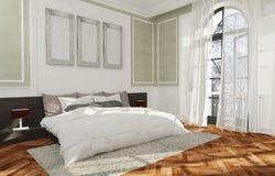 Unbedeutende und skandinavische Art mit gemütlichem Schlafzimmer Innenraum und 3d übertragen Stockfotos