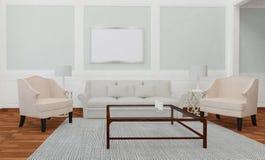 Unbedeutende und skandinavische Art mit gemütlichem Wohnzimmer Innenraum und 3d übertragen Stockfoto