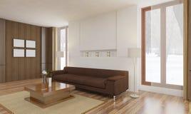 Unbedeutende und skandinavische Art mit gemütlichem Wohnzimmer Innenraum und 3d übertragen lizenzfreie abbildung