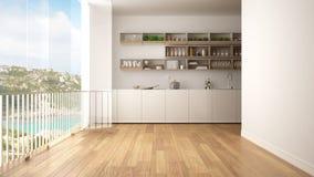 Unbedeutende weiße und hölzerne Küche mit Parkettboden und großem panoramischem Fenster Meer und Granit schaukeln Panorama mit bl lizenzfreie abbildung