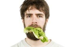 Unbeeindruckt mit Salat stockfoto