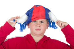 Unbefriedigter Junge in einem Gebläsesturzhelm Stockbilder