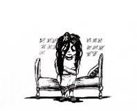 Unbefriedigtes Mädchen sitzt auf dem Bett und zählt die Tage Freiwillige Gefangenschaft und Warten auf das Ereignis stock abbildung