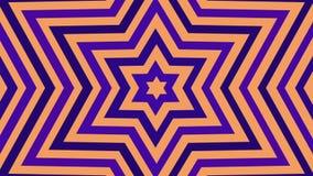 Unbegrenzte Geburt einer purpurroten Weißgoldfarbe des sechs-spitzen Sternes Tunnel von Hexagram David Star Nahtlose Schleifenani vektor abbildung