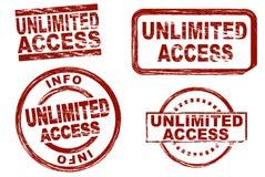 Unbegrenzter Zugangstinten-Stempelsatz stock abbildung