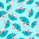 Unbegrenztes Muster mit blauen Einhörnern Stockfoto