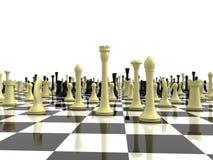 Unbegrenztes Schachbrett mit einer Vielzahl der Schachfigur Lizenzfreie Stockfotos