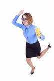 Unbeholfene Geschäftsfrau mit Kaffee lizenzfreies stockbild