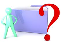 Unbekannter Dateiordner mit Fragezeichen und Karikatur Stockbild