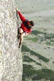 unbelayed fritt för klättrare Royaltyfria Bilder