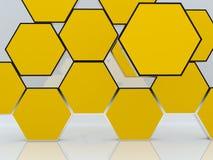 unbelegte abstrakte gelbe Kastenbildschirmanzeige des Hexagons 3D Lizenzfreies Stockfoto