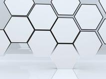 unbelegte abstrakte Kastenbildschirmanzeige des Hexagons 3D Stockbilder