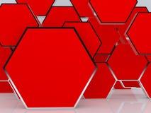 unbelegte abstrakte rote Kastenbildschirmanzeige des Hexagons 3D Stockfotografie