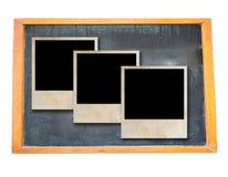 Unbelegte alte Tafel mit Fotofeld Stockfotografie