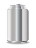 Unbelegte Aluminiumdose getrennt auf Weiß Lizenzfreie Stockfotos