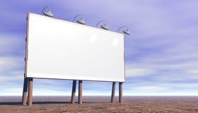 Unbelegte Anschlagtafel mit Leuchten Stockfoto