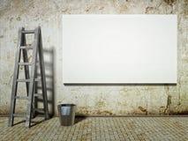 Unbelegte bekanntmachende Anschlagtafel auf schmutziger grunge Wand Stockbilder